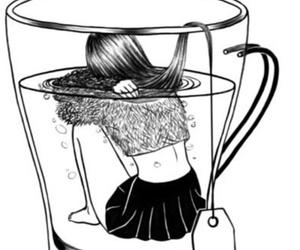 outline, sad, and tea image