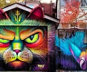 cat, art, and graffiti image