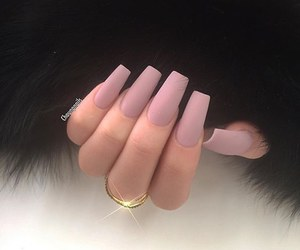 fake nails, gold ring, and long nails image
