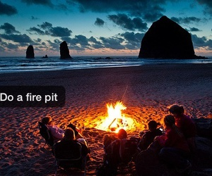 beach, fire, and sand image