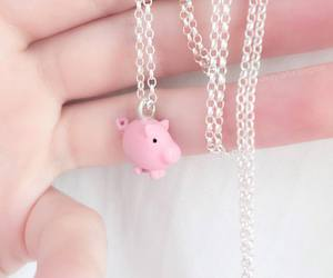 pig, girl, and necklace image