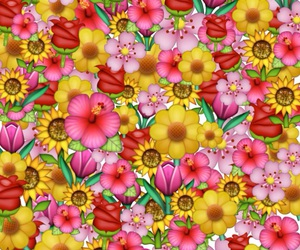 emoticon, flowers, and wallpaper image