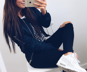 fashion, ripped jeans, and sneakers image