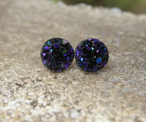 earrings, silver jewelry, and druzy image