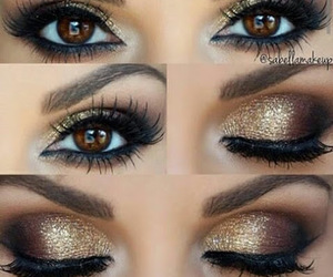 eyeshadow, gold, and makeup image