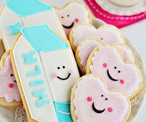 Cookies, milk, and cute image