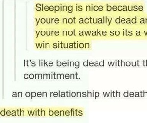 funny, sleep, and death image