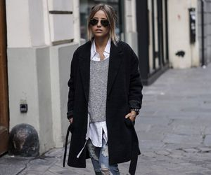 boyfriend jeans, casual, and coat image