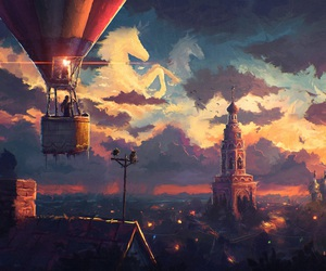 art, clouds, and fantasy image