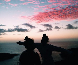 sky, friends, and sunset image