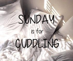 Sunday, bed, and cuddling image