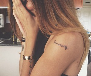 girl, Tattoos, and small tattoos image
