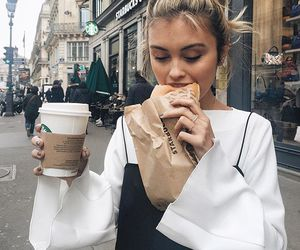 girl, starbucks, and food image