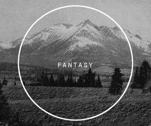 fantasy, black and white, and mountains image
