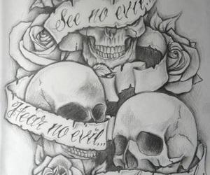 skull, tattoo, and rose image
