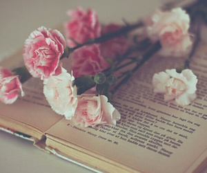 books, flowers, and photography image