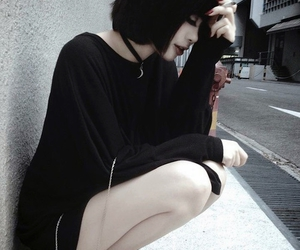 black, black clothes, and hair image