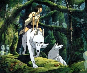 princess mononoke, wolf, and anime image