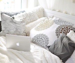 room, apple, and bed image