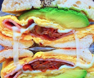 avocado, bagel, and cheese image