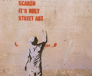 street art, text, and BANKSY image