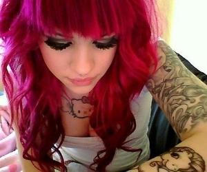 tattoo, girl, and hello kitty image