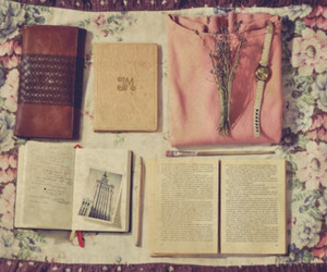 book, pink, and stuff image