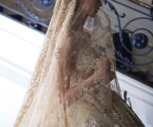 dress, gold, and bride image