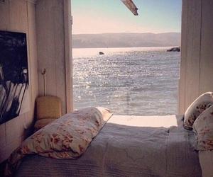sea, bed, and bedroom image