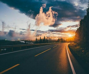 road, sunset, and sky image