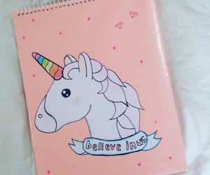 unicorn, notebook, and pink image