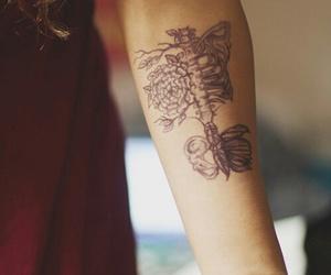 tattoo, skeleton, and flowers image