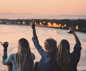 free, friendship, and sunset image