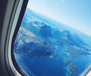 travel, blue, and airplane image