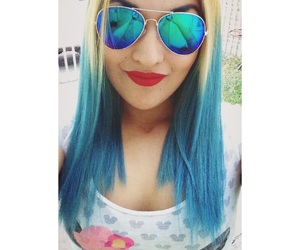 blue, hair, and redlips image