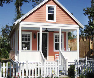 picket fence, pink, and porch image