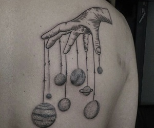tattoo, planet, and hand image