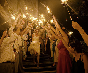 light, sparklers, and wedding image
