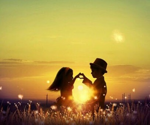 love, sunset, and kids image