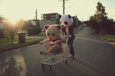 bear, panda, and couple image