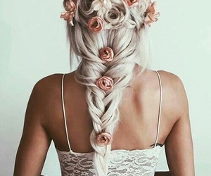 coiffure, roses, and tresse image