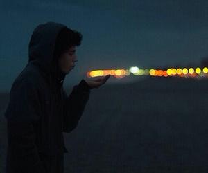 boy, light, and night image
