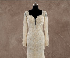 champagne, sweetheart, and open back wedding dresses image