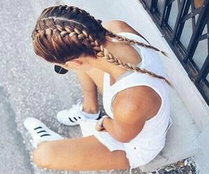 hair, plait, and hair style image