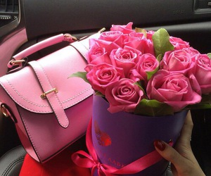 pink, bag, and roses image
