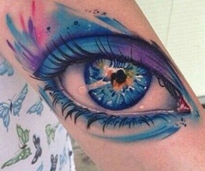 tattoo, eye, and blue image