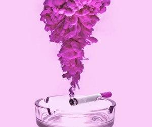 pink, smoke, and cigarette image
