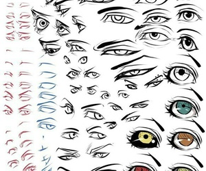 eyes, sketch, and anime image