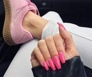 nails, pink, and shoes image