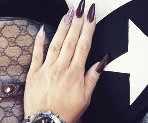 cosmetics, wine nails, and stiletto nails image